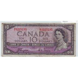 Bank of Canada;  10 dollars 1954 Devil's Face BC-32a in Fine D/D3225195.