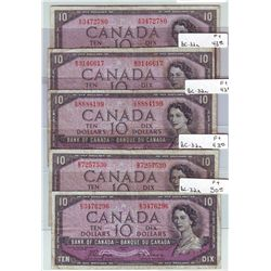 Bank of Canada; 10 dollars 1954 Devil's Face BC-32a all in Fine + A/D3472780, B/D3146617, C/D8884199