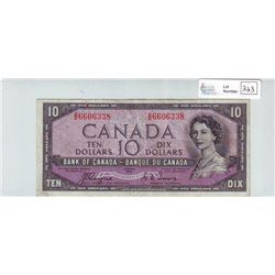 Bank of Canada; 10 dollars 1954 Devil's Face BC-32a in Very-Fine D/D6606338.