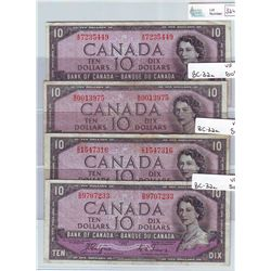 Bank of Canada; 10 dollars 1954 Devil's Face BC-32a all in Very-Fine A/D7235449, B/D0013975, C/D1547