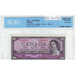 Bank of Canada; 10 dollars 1954 Devil's Face BC-32a Coyne Towers B/D8869587 CCCS UNC-60.