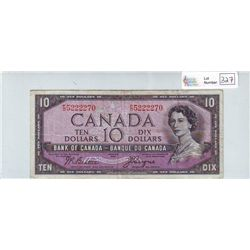 Bank of Canada; 10 dollars 1954 Devil's Face BC-32b F/D5222270 in Very-Fine.