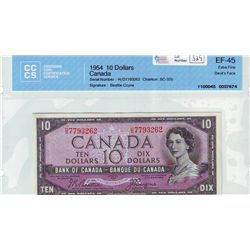 Bank of Canada; 10 dollars 1954 Devil's Face BC-32b Beattie Coyne H/D7793262 in CCCS EF-45.