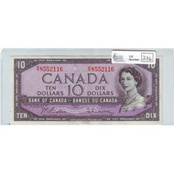 Bank of Canada; 10 dollars 1954 BC-40b in AU-55 P/T8552116.