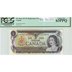 Bank of Canada; 1 dollar 1973 Replacement BC-46aA Lawson Bouey *FG3168563 PCGS UNC-63PPQ.