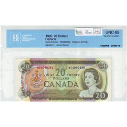 Bank of Canada; 20 dollars 1969 BC-50b Lawson Bouey in CCCS UNC-65.