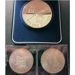 Bermuda; Crown 1959 x 2 in BU condition and $25 Sterling silver 1975 in case of issue with COA. Lot