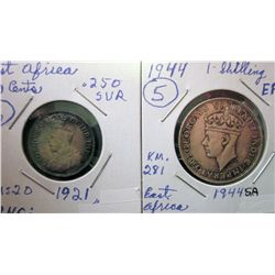 East Africa; 50 Cents 1921 UNC and 1 Shilling 1944SA EF. Lot of 2 coins.