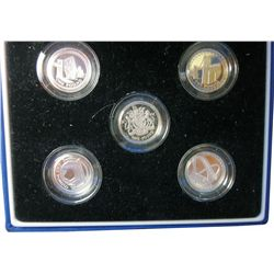 Great Britain; Set of 5 x 1 Pound Proof in original case with COA from Britiah Mint, 2003, 2004, 200