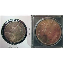 New Zealand; 1/2 Crown 1934 EF-40 and Crown 1949 in BU. Lot of 2 coins.