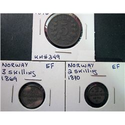 Norway; 2 Skilling 1870 EF, 3 Skilling 1869 EF & 5 Ore 1876 VF. Lot of 3 coins.