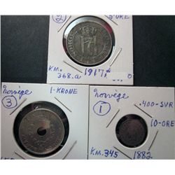 Norway; 1882 10 Ore, 1917 5 Ore & 1937 1 Krone.  VF to EF.
