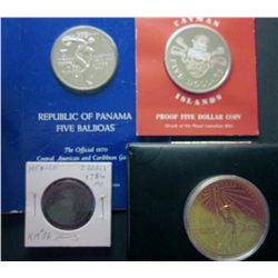 Panama 5 Balboas 1970 Proof Sterling, Cayman Islands 5 Dollar 1974 Proof, Mexico 2 Reals 1754MO F-12
