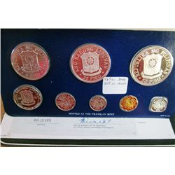 Philippines; 1975 Proof Set minted by Franklin Mint, 8 coins 25 & 50 Piso are silver. With case, sle