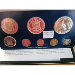 Philippines; 1976 Proof Set minted by Franklin Mint, 8 coins 25 & 50 Piso are silver. With case, sle