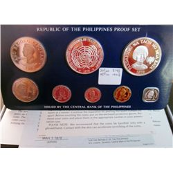 Philippines; 1979 Proof Set minted by Franklin Mint, 8 coins 25 & 50 Piso are silver. With case, sle