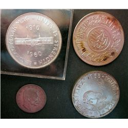 South Africa 5 Shillings 1955 UNC,  5 Shillings 1960 UNC, Yemen 1 Rial 1963 UNC Cleaned, Serbia 1 Di