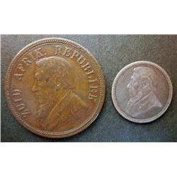 South Africa; 1 Penny 1894 in VF+ and 6 Pence 1893 in VF+. Lot of 2 coins.