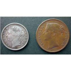 Straits Settlement; 1845 ½ Cents and 1900 10 Cents.  Two coins VF-EF.
