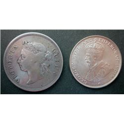 Straits Settlement; 1899 VG and 1920 AU 50 Cents.  Two coins.
