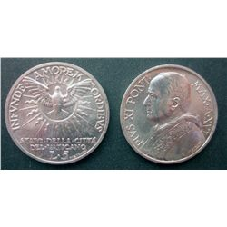 Vatican City; 5 Lire 1937 KM #7 and 5 Lire 1939 KM #20, both coin are BU. Lot of 2 coins.
