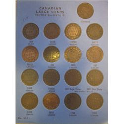 Large cent lot; 1858 to 1920 inclusively including 3 extras for obverses, small & large date 1891, b