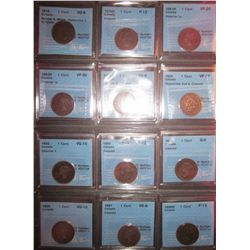 Large cent lot; all coins certified by CCCS except 1899 by ICCS; 1859 VG-8; N9 Medal Rep 9 Variation
