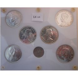 Canada Commemorative Coins in Capital holder; Dollar 1935, 1939, 1949, 1958, 1964, 1967 & 5 cents 19