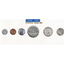 1945; 1 cent MS-63 Red & Brown, 5 cents AU-50 rust, 10 cents EF-40, 25 cents EF-40, 50 cents EF-40 &