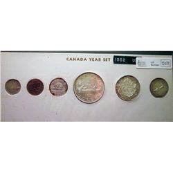 1952; 1 cent MS-64  Red & Brown, 5 cents MS-64 Corrosion, 10 cents MS-63, 25 cents MS-62 Low Relief,