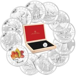 10 dollars 2013 Fine Silver set of 12 coins O'Canada in beautiful wood presentation box with COAs.