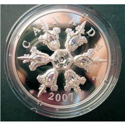 20 dollars 2007 Sterling Silver Crystal Snowflake iridescent in case of origin with COA, mintage of