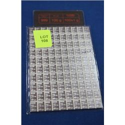 SHEET W 100 GRAMS OF  .999 FINE SILVER BARS