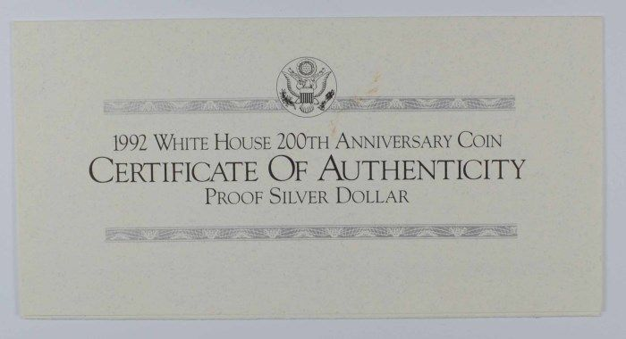 1992 WHITE HOUSE 200th ANNIVERSARY PROOF COMMEMORATIVE
