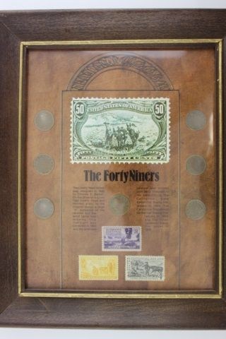 Framed The Forty Niners Coin and Stamp Set