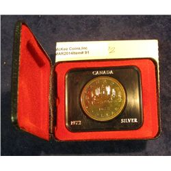 "91. 1972 ""Voyageur"" Canada Silver Prooflike Dollar. In original Royal Canadian Mint felt-lined box."