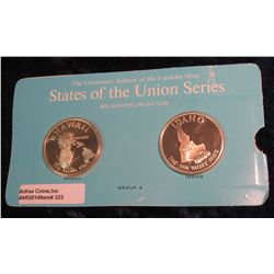 "323. Franklin Mint Solid Sterling Sillver States of the Union Medals ""Hawaii"" & ""Idaho"". 39 mm each"
