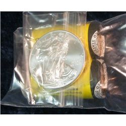 326. 2007 P & D Native American Golden Dollar Rolls, U.S. Mint wrapped; & 2008 Gem BU American Eagle