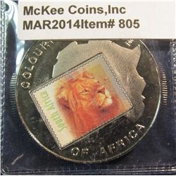 """805. 2001 Bank of Uganda 1000 Shillings """"Colorful Big Five of Africa"""" colorized lion crown sized coi"""