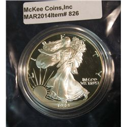 826. Proof 1989-S American Silver Eagle, in mint issued capsule