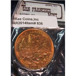 836. San Francisco Mint bronze medal – still in mint issued tourist shop cello
