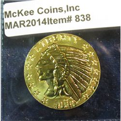 838. Oversized 1929 $5 Indian gold coin, gold-plated, marked COPY