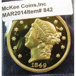 842. Copy of an 1849 $20 Liberty gold coin – gold plated, marked COPY