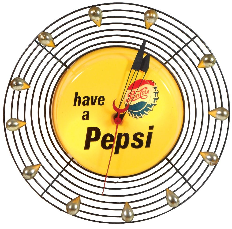 Pepsi-Cola light-up clock, molded plastic face w/unusual wire frame ...