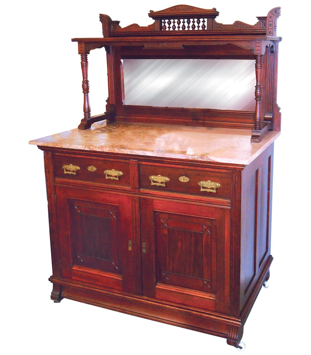 Furniture, Eastlake Mahogany Sideboard Buffet Server, Top Section Has Crown  W/turned Spindles. Loading Zoom