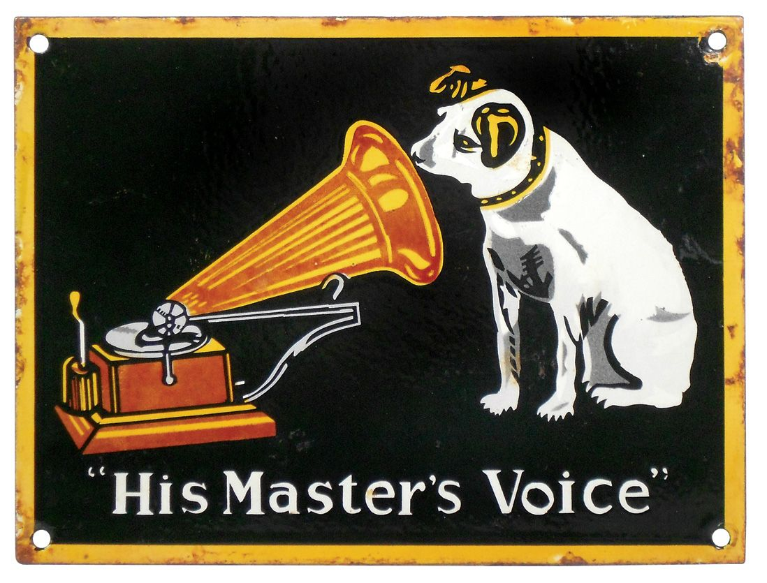 advertising sign porcelain rca victor his master 39 s voice w nipper victrola graphics vg cond w m. Black Bedroom Furniture Sets. Home Design Ideas