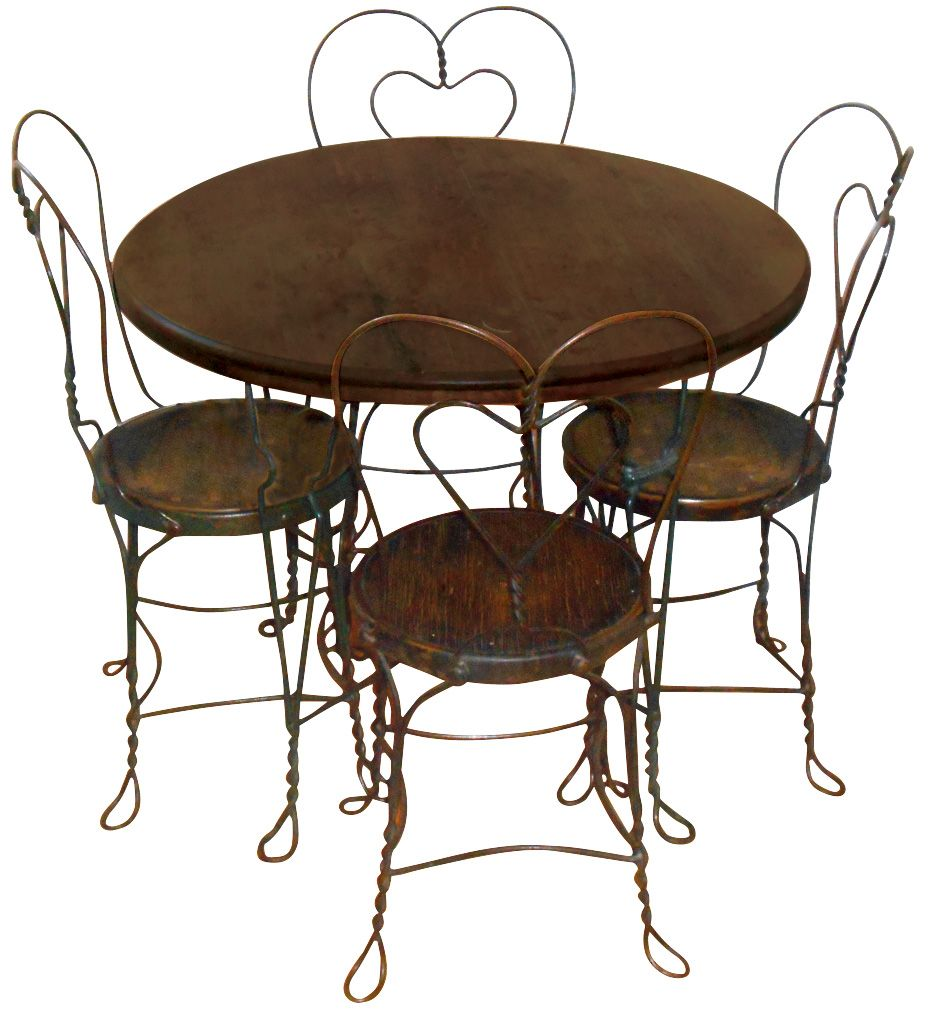 Soda Fountain Ice Cream Table U0026 4 Chairs, Oak Top W/twisted Wire Legs,  C.1910, Chairs W/heart Shaped