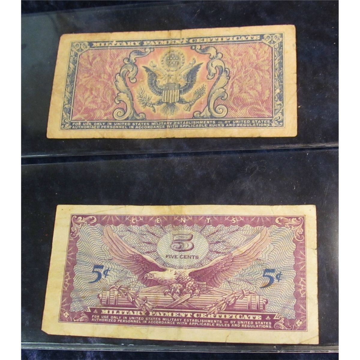 1035 2 Us Military Payment Certificates Mpcs Series 481 5 Cents