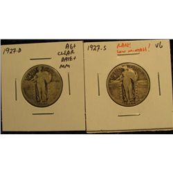 1597.   2 scarcer, lower mintage Standing Liberty Quarters – 1927-D AG+ clear date and mintmark & 19