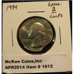 1612.   1974 Washington Quarter – error 2(!) clips